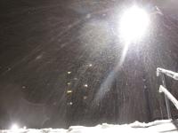 Nachtaufnahme bei Schneefall