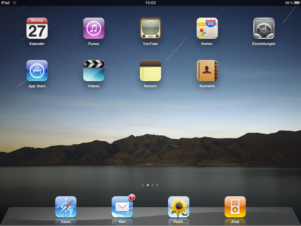 iPad Startbildschirm