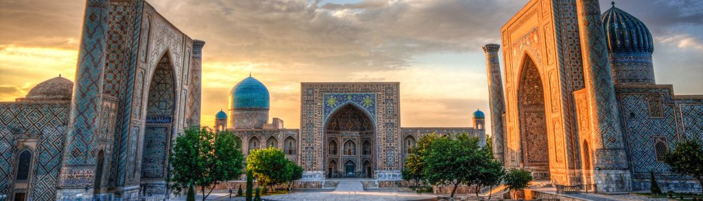 Die Registran bei Sonnenuntergang in Samarkand Usbekistan