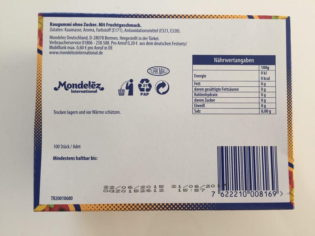 Mondelez International Kaugummi Falim - Zutaten und Inhaltsstoffe