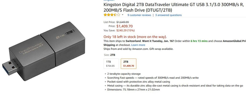 Kingston DataTraveler - grösster USB Stick der Welt - Quelle: Amazon.com